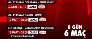 Galatasaray Televizyonu'nda 8 Günde 6 Maç